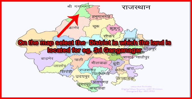 On the map select the District in which the land is located for Sri Ganganagar
