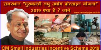 """राजस्थान """"मुख्यमंत्री लघु उद्योग प्रोत्साहन योजना"""" 2019"""