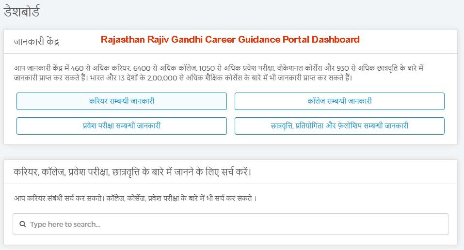 Rajasthan Rajiv Gandhi Career Guidance Portal Dashboard