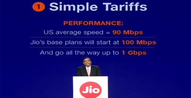 Reliance Jio fiber Tariffs Plans