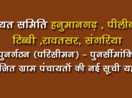 Hanumangarh Panchayat Punargathan List 2019