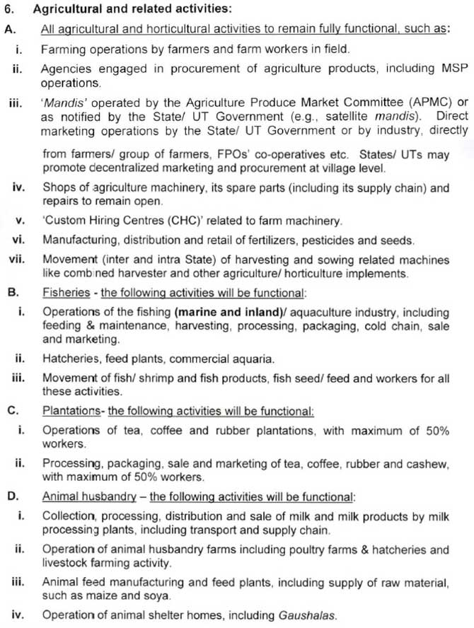 Agricultural and related activities
