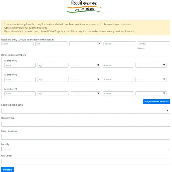 delhi Temporary Free Ration Coupon Form
