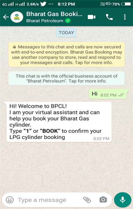 Book Bharat Gas Cylinder Through Whatsapp