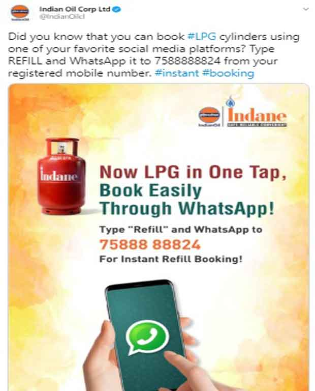 indane gas booking through whatsapp