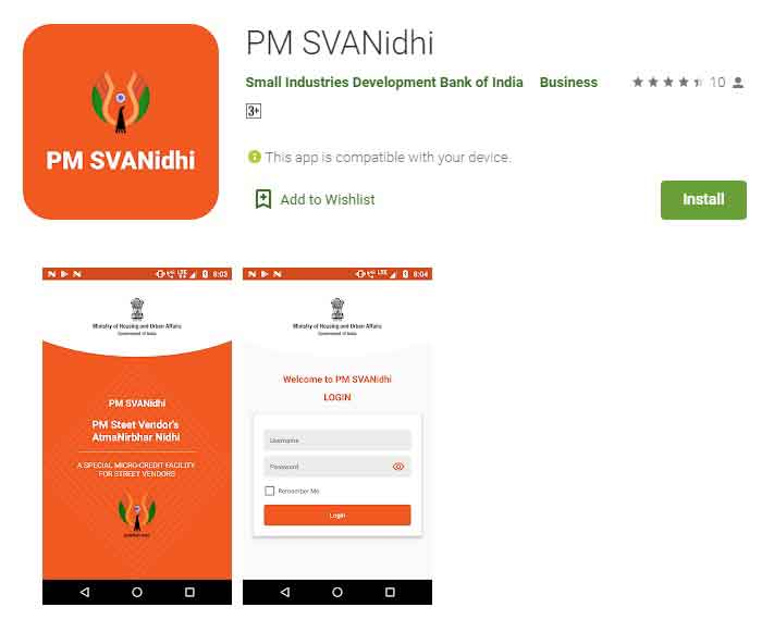 Mobile App PM SVANidhi Small Industries Development Bank of India