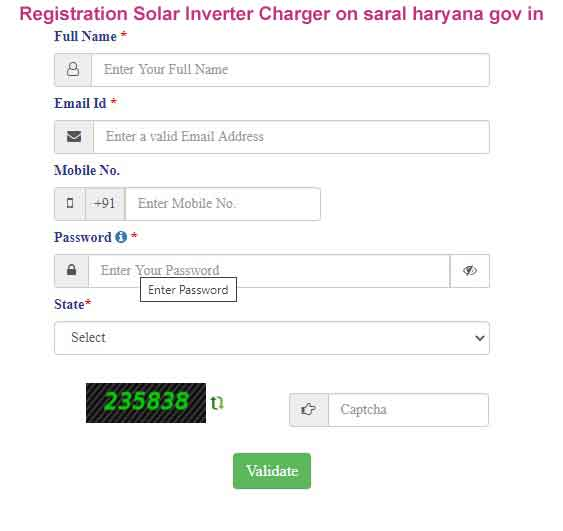 Registration Solar Inverter Charger on saral haryana gov in