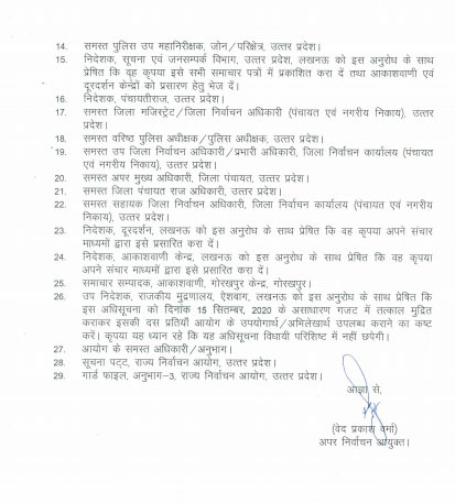 Notification of comprehensive revision of UP Panchayat General Election 2020.