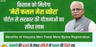 Benefits of Haryana Meri Fasal Mera Byora Registration