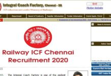 Railway ICF Chennai Recruitment 2020