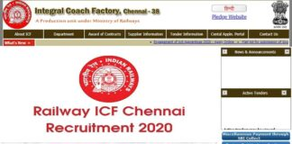Railway ICF Chennai Recruitment 2020
