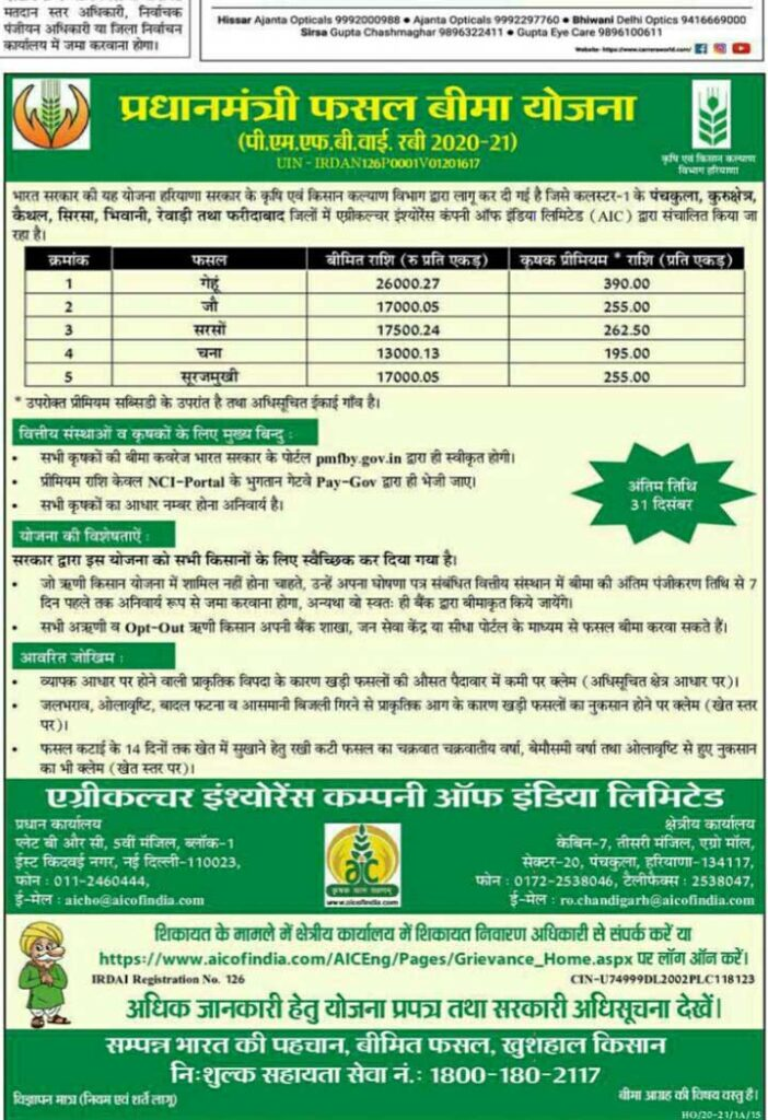 under the prime minister crop insurance scheme farmers should get registration done for getting rabi crops insured