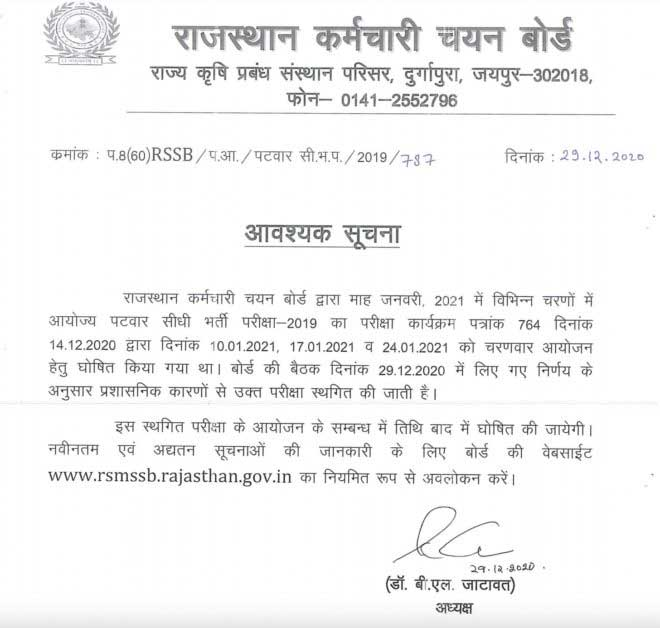 Rajasthan Patwari Exam January 2021 Postponed Notice