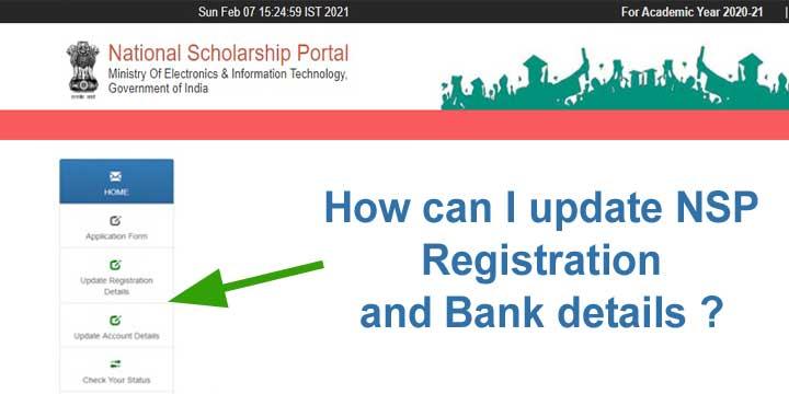 update NSP Registration and Bank details
