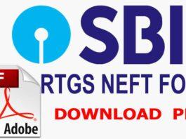 SBI RTGS NEFT Form PDF Download